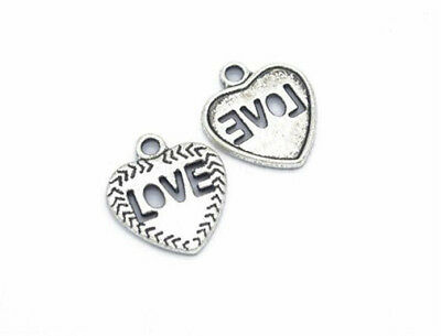 DIY 6pcs Tibet silver Love Heart Necklace Charm Pendant beads Jewelry Making