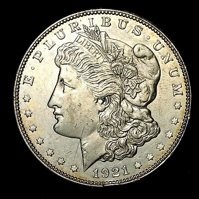 1921 D ~**ABOUT UNCIRCULATED AU**~ Silver Morgan Dollar Rare US Old Coin! #H35