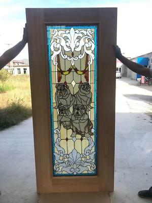 Great Hand Made Stained Leaded Glass Bull Dog Door Interior Or Exterior - Jbd59
