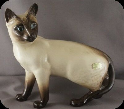 "Vintage Beswick England Large Standing Siamese Cat 8"" Blue Eyes Seal Point"
