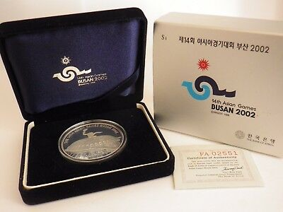 2002 Year The 14Th Asian Games Busan Korea Commemoration  Proof Silver Coin Nib