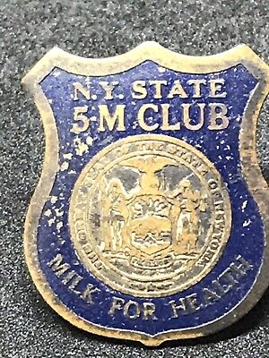 Vintage New York State 5-M Club Milk for Health Dairy Promotion Lapel Pin