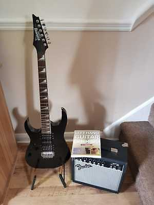 Ibanez Gio Left Handed Guitar In Black Great Condition + Fender Amp, Bag & Book