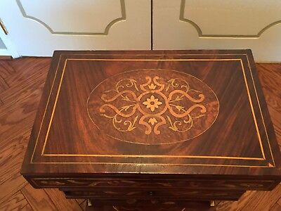 Dutch Flemish Marquetry Inlaid sewing box stand table Dutch German French?