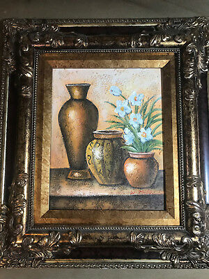 "Nice ""Still Life Scene"" Oil On Board Painting #1 - Signed And Framed"