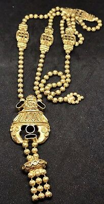 "Chunky Vintage Gold Tone Egyptian Revival Long 29"" Art Deco Chain Necklace"