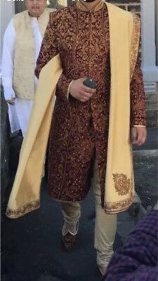 Mens Groom Sherwani Asian Wedding Maroon And Gold Including Accessories Kurta