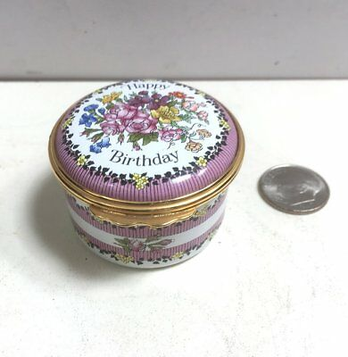 "HALCYON DAYS ENAMELS ""HAPPY BIRTHDAY"" Colorful Flowers TRINKET/PILL BOX"