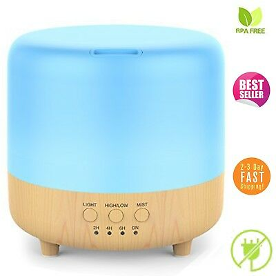 Aromatherapy Oil Diffuser Essential Wood Grain Ultrasonic Humidifier LED Light