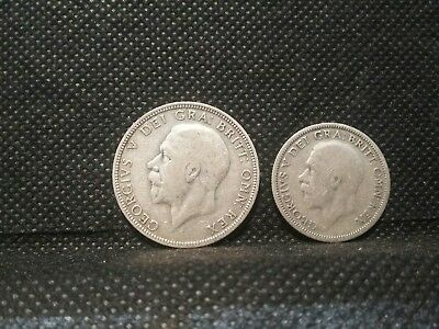 Britain 2 coin lot1=1933 Florin1=1929 shilling HALF OUNCE In SILVER COINS