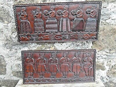 Two Wonderful African Colonial Tribal Carved Storyboards. 'parade' & 'funeral'!
