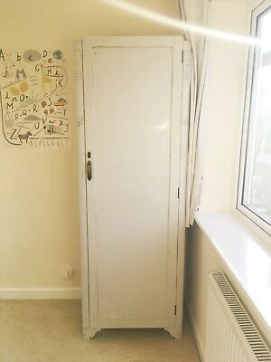 Vintage Single Painted Wardrobe, Pale Heritage Green-grey Shabby Chic