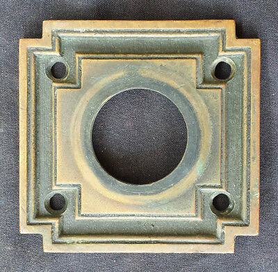 "3""x3"" Antique Vintage Brass Bronze Door Cylinder Mortise Lock Key Hole Plate"