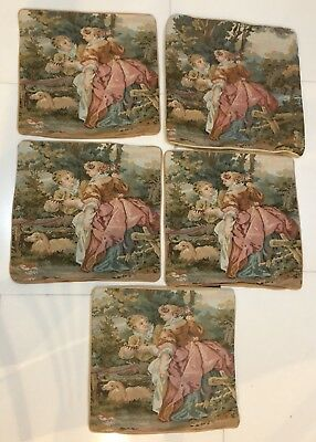 5 Antique  French Aubusson Style Tapestry Decorative Cushion 40 X 36 Cm