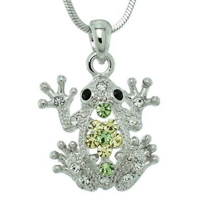 Frog Green Made With Swarovski Crystal Jungle Toad Weather Girl Pendant Necklace