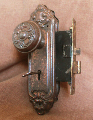 Restored Antique Vintage Neo Classical Interior Door Lockset Knob Plate Lock Key