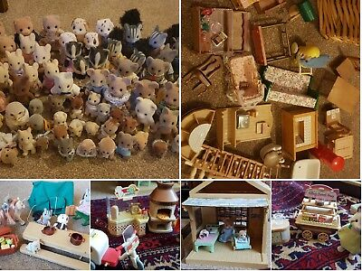 Vintage sylvanian Families Job Lot- 74 Figures, sets, furniture and much more
