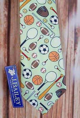 New With Tags J Bailey Young Mens Boys Tie, Green Sports Football Baseball ect.