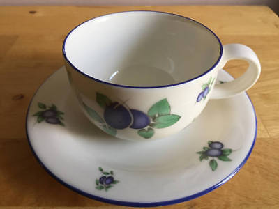Royal Doulton Everyday Blueberry Pattern Cup & Saucer - Used