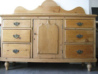 Antique waxed pine Suffolk farmhouse sideboard in superb condition for its age