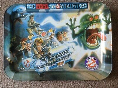 The Real Ghostbusters 1986 Metal TV Tray ECTO-1 Slimer- Stay Puft-Free Shipping
