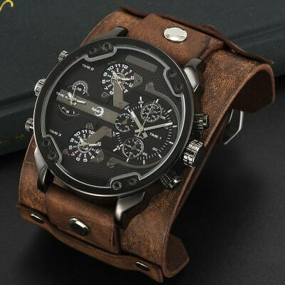 APHOTIC 4 Timezone Fashion Large Men Watch Wide Vintage BROWN Leather Strap with