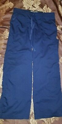 "Greys Anatomy Womens 4pocket  Solid Scrub Pants SMALL 30"" NAVY BLUE 4245"