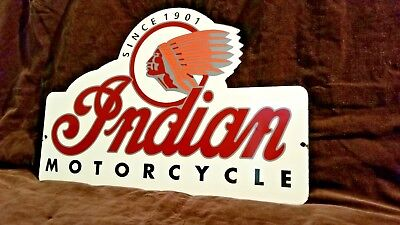 Vintage Indian Motorcycles Porcelain Gas Chief Service Station Pump Plate Sign