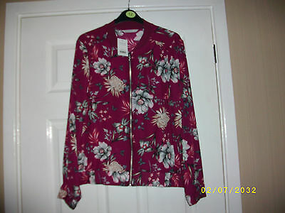 Ladies Burgandy Floral Blouson Jacket Size 14 from George