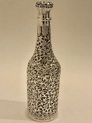 Exquisite Large Antique  Islamic Persian Indian Cutch/ Kutch Solid Silver Bottle