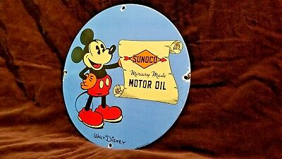 Vintage Mickey Mouse Porcelain Sunoco Gasoline Service Station Pump Plate Sign