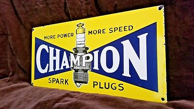 Vintage Champion Spark Plugs Porcelain Gas Auto Service Station Pump Plate Sign