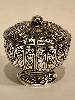 Antique Islamic Eastern Lobed Low Pedestal Solid Silver Box/ Bowl With Lid