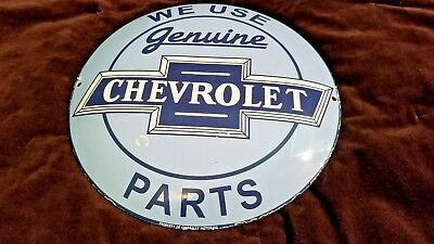 Vintage Chevrolet Porcelain Gas Auto Genuine Parts Convex Service Chevy Sign