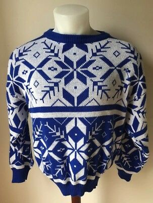 Vintage Retro Mens Womens Unisex Ski Sweater Made In Italy Size Large Shirt