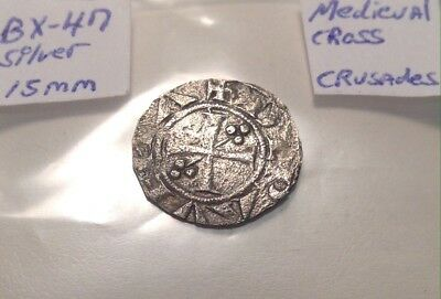 Medieval Silver Coin 13th-14th Century 15mm Crusades