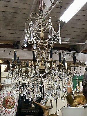 Stunning Antique French 12 Light Bronze, Crystals And Beads Chandelier