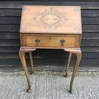 Ladies Bonheur du Jour Walnut Writing Desk Folding Leather Queen Anne Cabriole