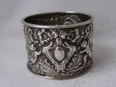 Quality Victorian Cherubs Decorated Solid Silver Napkin Ring 1893/ H 3.2 cm/39g