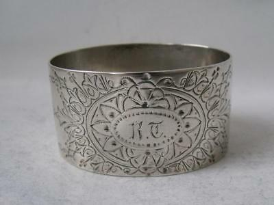 Pretty Antique Hand-Engraved Solid Sterling Silver Napkin Ring 1889/H 2.7cm/30g