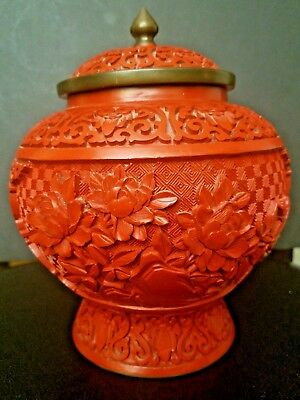 Large Vintage Carved Chinese Red Lacquer Cinnabar Vase/urn With Lid & Enamel Nr