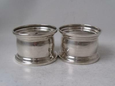 Pair of Art Deco Solid Sterling Silver Napkin Rings 1928/ H 2.8 cm