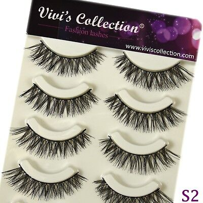 False Eyelashes Set Natural Long Thick Fake Eye Lashes Extension 5 Pairs - S2