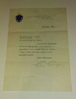 CALVIN COOLIDGE - Hand Signed Vintage Letter Autograph 30th President Governor