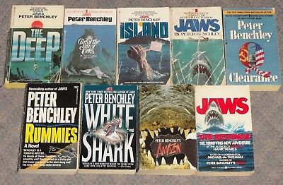 Lot of 9 Peter Benchley Paperbacks JAWS The Deep Shark Horror Jaws the Revenge