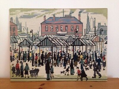 Lowry Market Day Large Finished Cross Stitch Tapestry Ready To Frame 20 x 15""