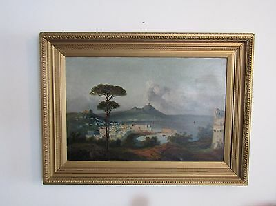LARGE OIL ON CANVAS PAINTING OF VESUVIUS ERUPTING, ca. LATE 18th C/EARLY 19th C.