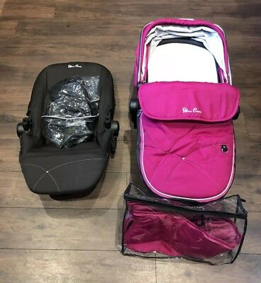 Silver Cross Carrycot, Seat Unit, Hood and Apron Including Fitted Raincover