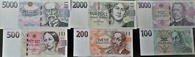 UNC set of all czech banknotes 20 - 5000 Korun, SELECTION POSSIBLE