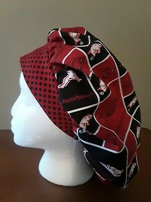 Arkansas Razorbacks Women's Bouffant Surgical Scrub Hat/Cap Handmade